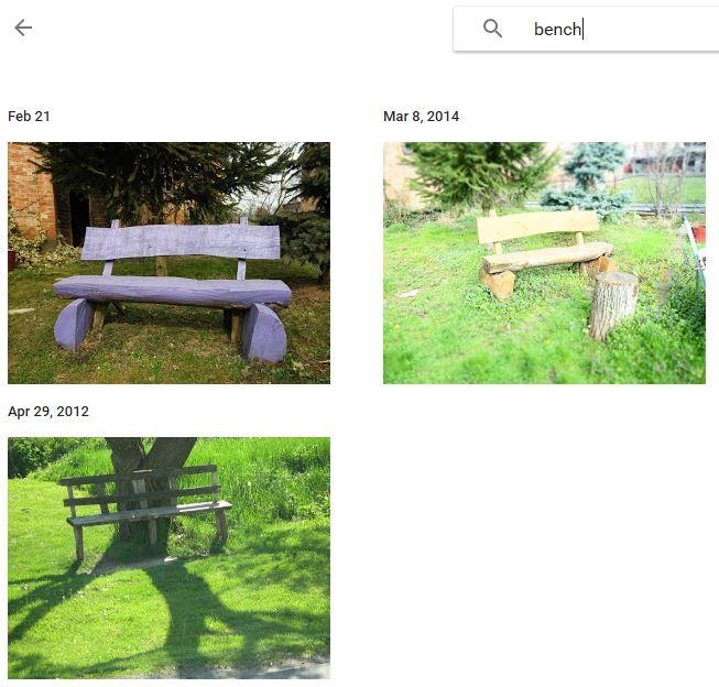 """Primjer pretraživanja fotografija za pojam """"bench"""" (klupa)"""