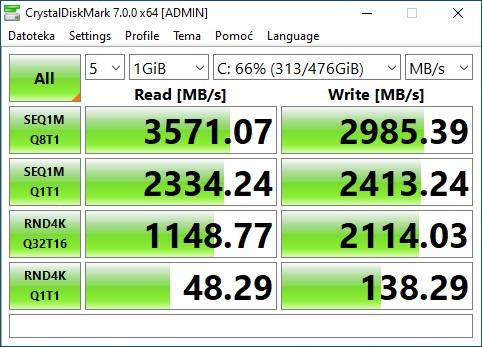 Legion 5, Ryzen 7 4800h, SSD CrystalDiskMark benchmark